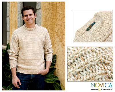 Men's Cotton Pullover Sweater from Central America - Beige Crew ...