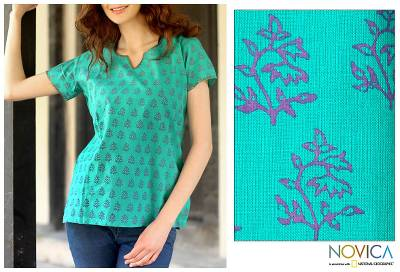 Cotton tunic, 'Mumbai Bouquet' - Cotton Tunic Shirt  Blue Green Block Print Floral By India