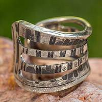 Sterling silver band ring, 'Stella Inspiration' - Unique Sterling Silver Band Ring