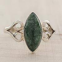Jade cocktail ring, 'Two Hearts in Green' - Heart Shaped Sterling Silver Jade Ring