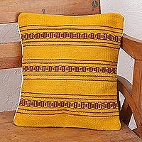 Zapotec wool cushion cover, 'Zapotec Energy' - Handcrafted Wool Zapotec Yellow Cushion Cover