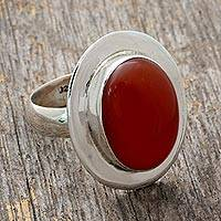 Carnelian solitaire ring, 'Spicy Hot' - Modern Sterling Silver and Carnelian Ring