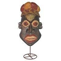 Ghanaian wood mask, 'Laughter' - African Wood Mask on a Stand