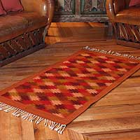 Zapotec wool rug, 'Autumn Leaves' (2.5x5) - Zapotec wool rug (2.5x5)