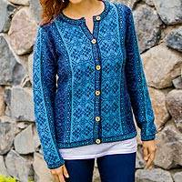 100% alpaca sweater, 'Blue Andean Poinsettia' - Handcrafted Floral Alpaca Wool Art Knit Cardigan
