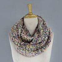 Tweed infinity scarf, 'Pastel Shadows' - Loosely Knitted Pastel Tweed Infinity Scarf from India