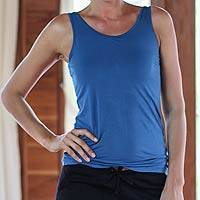 Jersey tank top, 'Blue Energy' - Jersey Yoga Top from Bali