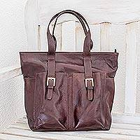 Leather shoulder bag, 'Choco Chic' - Brown Leather Shoulder Bag Lined