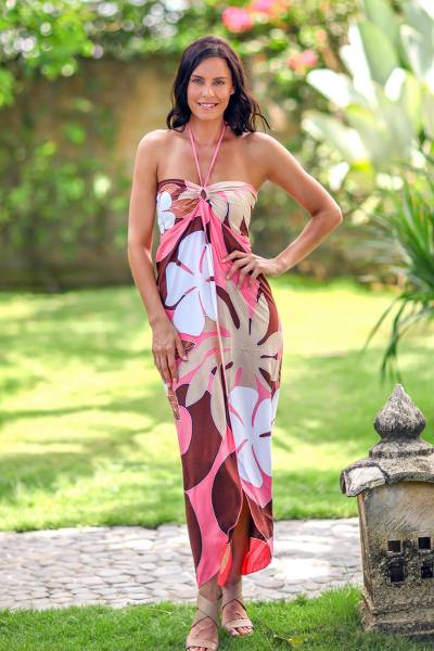 Dress, 'Pink Balinese Grace' - Floral Hand Painted Maxi Dress