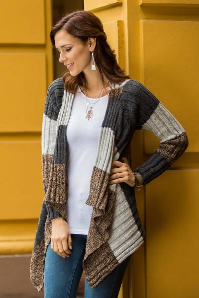 Alpaca blend cardigan, 'Pachamama' - Brown and Grey Alpaca Blend Open Front Cardigan Sweater