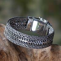 Men's sterling silver chain bracelet, 'Dragon Spirit' - Men's Jewelry Sterling Silver Chain Bracelet from Bali