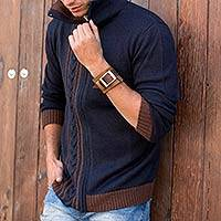Men's alpaca blend cardigan, 'Orcopampa Dusk' - Men's Navy Blue Alpaca Blend Zip Cardigan