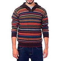 Men's 100% alpaca pullover sweater, 'Brown Heights' - Men's 100% Alpaca Striped Pullover Sweater with Turtleneck
