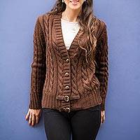 Alpaca blend cardigan, 'Buckles on Brown' - Peruvian Dark Brown Alpaca Blend Cardigan Sweater