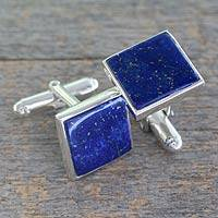 Lapis lazuli cufflinks, 'Opportunity' - Silver Cufflinks with Lapis Lazuli from India