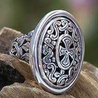 Sterling silver cocktail ring, 'Cross Shield' - Balinese Sterling Silver Cocktail Ring