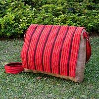 Jute and cotton messenger bag, 'Maya Sunset' - Handcrafted Cotton and Jute Striped Messenger Bag