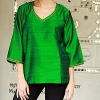 Silk tunic, 'Grand Emerald' - Embellished Silk Tunic Blouse from India