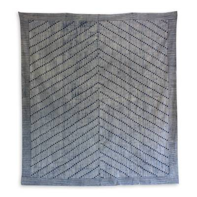 Cotton batik bedspread, 'Vines' (twin) - Cotton Batik Hill Tribe Blue and White Bedspread (Twin)