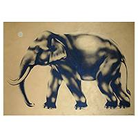 'Golden Light' (2004) - Acrylic Elephant Painting
