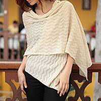 100% alpaca shawl, 'Natural Zigzag' - Handcrafted Alpaca Wool Shawl from Peru