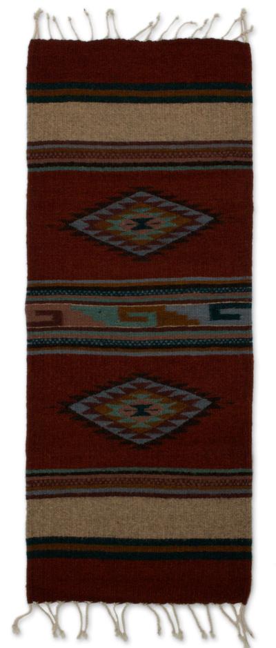 Hand Made Zapotec Area Rug 1 5x3 Diamond Stars Novica