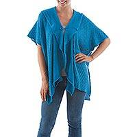Alpaca blend cardigan, 'Azure Grace' - Peru Blue Alpaca Blend Ruffled Short Sleeve Cardigan