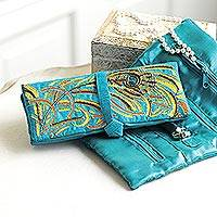 Embroidered cotton blend jewelry roll, 'Delhi Peacock' - Elegant Jewelry Travel Roll in Turquoise Blue