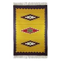 Wool rug, 'Starlight Diamonds' (4x6) - Yellow Purple Jute Dhurrie Style Rug (4x6)