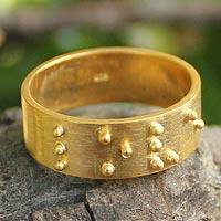 Gold plated band ring, 'Braille Love' - Gold plated band ring