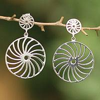 Silver dangle earrings, 'Andean Spin' - Silver dangle earrings