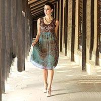 Beaded dress, 'Shibori Chic' - Shibori-Dyed Green and Brown Embellished Dress with Sequins
