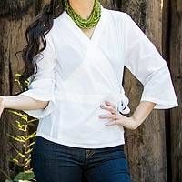 Cotton wrap blouse, 'White Thai Charm' - Unique Cotton Blouse