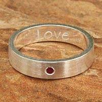 Garnet band ring, 'Love' - Sterling Silver and Garnet Band Ring