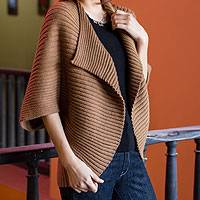 Alpaca blend cardigan, 'Cinnamon Caress' - Brown Alpaca Blend Cardigan