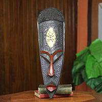 African wood mask, 'Ohemaa' - African Queen Mother Wood Mask
