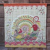 Cotton batik wall hanging, 'Amorous Geese' - Batik on Cotton Wall Hanging Orange Geese and Flowers