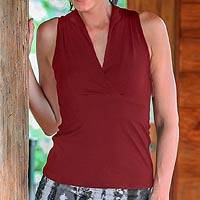 Cotton blend sleeveless top, 'Jakarta Crimson' - V-neck Cotton Blend Collared Sleeveless Top
