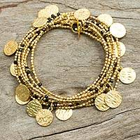 Gold plated onyx wrap bracelet, 'Solar Magic' - Gold Plated and Onyx Wrap Bracelet from Thailand