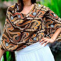 Silk batik shawl, 'Kuta Sunset' - Indonesian Batik Silk Patterned Shawl
