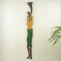 African wood wall sculpture, 'Palace Horn Blower' - Colorful Wood Wall Sculpture of African Horn Blower