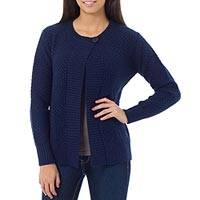 Alpaca blend cardigan, 'Arequipa Blue' - Navy Blue Cardigan Knitted of Alpaca Blend from Peru