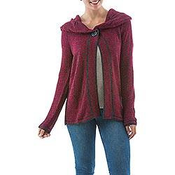 Alpaca blend cardigan, 'Crimson Diva' - Long Sleeve Red Cardigan in Soft Alpaca Blend from Peru