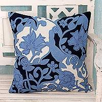 Cotton cushion cover, 'Blue Trellis' - Hand Made Floral Patterned Blue Cushion Cover from India