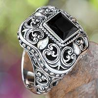 Onyx cocktail ring, 'Gothic Realm' - Indonesian Onyx and Sterling Silver Cocktail Ring