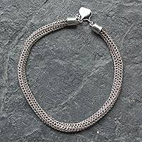 Sterling silver chain necklace, 'Lyon' - Fair Trade Hand Crafted Sterling Silver Chainmail Necklace