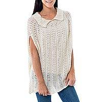 100% alpaca poncho, 'Andean Diva' - Ivory Color Hand Knitted Alpaca Poncho from Peru