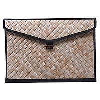 Pandan leaf laptop sleeve, 'Uluwatu Pandan in Black' (17 in) - Hand Woven Lined Pandan Leaf 17 Inch Laptop Sleeve