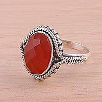 Carnelian cocktail ring, 'Sun Afire' - Carnelian Ring Artisan Crafted Sterling Silver Jewelry