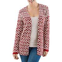 100% alpaca cardigan, 'Crimson Belle' - Peruvian Red and White Long Sleeve Cardigan in 100% Alpaca